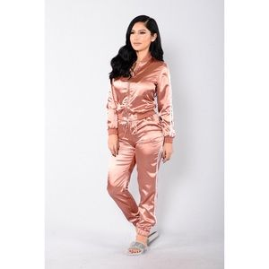 Rose Gold Silky Tracksuit